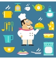 Restaurant chef and kitchen items vector image