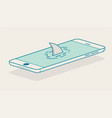 shark fin above smartphone vector image