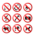 collection of ban road signs vector image vector image