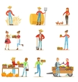 Farmers Men And Women Working At The Farm And vector image