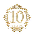 Golden emblem of tenth years anniversary in vector image