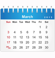 Stylish calendar page for March 2013 vector image vector image