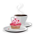 Coffee mug and cupcake vector image