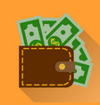 Flat wallet with cash icon vector image