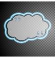 Blue glow neon cloud speech bubble vector image
