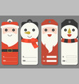 cute tags of santa claus and snowman vector image