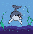 Dolphin background underwater seabed vector image