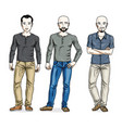 happy men standing in stylish casual clothes set vector image