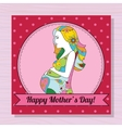 Happy mothers day card with pregnant woman on vector image