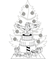 Santa Claus jump out of the cake vector image