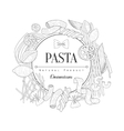 Pasta Assortment Logo Hand Drawn Realistic Sketch vector image