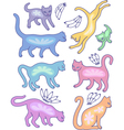 Eight cat silhouettes and fly flowers vector image