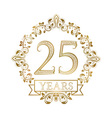 Golden emblem of twenty fifth years anniversary in vector image
