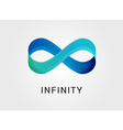 Blue abstract infinity endless symbol and icon vector image