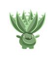 happy smiling cactus emoji cartoon emotions vector image vector image
