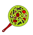 Pan with vegetables for your design vector image