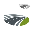 Highway road pass among green rural fields vector image