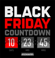 Black Friday countdown timer vector image