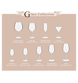 Cocktail and Wine Glasses Diagram vector image