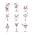 collection of line alcoholic cocktails and vector image