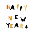Happy New Year Gold and black letters Holiday vector image