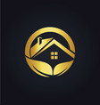 home roof organic business gold logo vector image