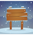 Wooden board in snow vector image