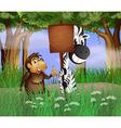 Zebra Gorilla Signboard vector image vector image