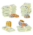 money banknotes stacks  3d cash gold coins vector image