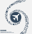 airplane icon sign in the center Around the many vector image