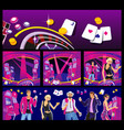 interior casino - slot machines chairs light vector image