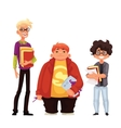 Set of isolated cartoon style nerds school boys vector image