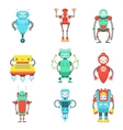 Different Cute Fantastic Robots Characters Set vector image