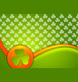st patrick day waves background with irish flag vector image