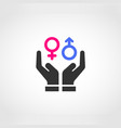 two hands protecting gender equality vector image vector image