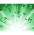 Radiant green background with clover vector image vector image