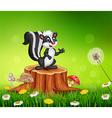 Cartoon funny skunk on tree stump in summer vector image