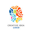 abstract human head shape with colorful flat gear vector image
