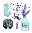 boho style set with hand drawn creative vector image