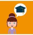 cap graduation education online design girl vector image