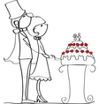 Cute Couple Cutting Wedding Cake Drawing vector image