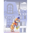 Dog Musician in Blue Evening Paris vector image