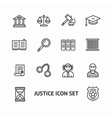 justice law outline icon set vector image