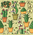 seamless pattern of house plants in cerami vector image