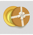 striped round empty gift box with silk bow vector image