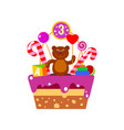 cake on third birthday vector image