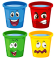 Buckets with faces vector image