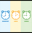 Breakfast Lunch and Dinner time vector image