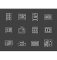 White flat line metal locker and safe icons vector image