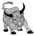 Bull Decorative outline hand drawn in zentangle vector image